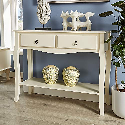 Home Source White Console Telephone Hallway Table 2 Drawer Shelf French Sculpted Curved Legs, (W) 100cm (D) 33cm (H) 78cm