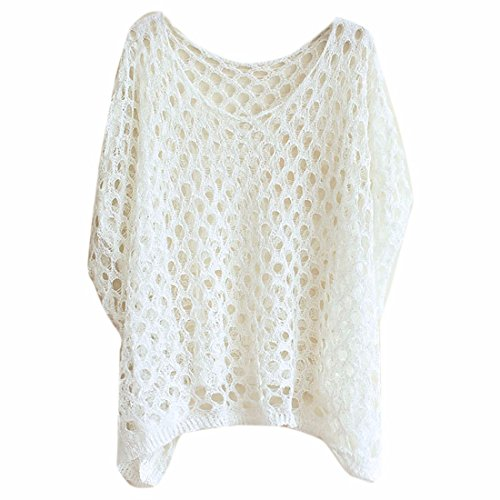 Femmes Manches Chauve-Souris Maille Fine Plage Lache D'Ete De La Mode En Tete Blouse Blanc