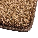 Shaggy Teppich Barcelona | weicher Hochflor Teppich für Wohnzimmer, Schlafzimmer und Kinderzimmer | mit GUT-Siegel und Blauer Engel | verschiedene Größen | viele moderne Farben | 66x130 cm | Hellbraun