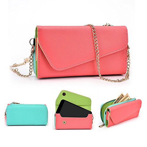 Kroo d'embrayage portefeuille avec dragonne et sangle bandoulière pour Asus Pegasus/Padfone x Mini Multicolore - Green and Pink Multicolore - Rouge/vert