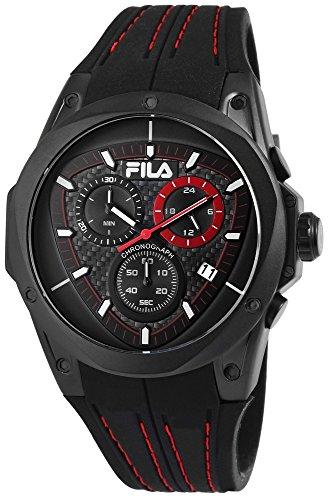 Fila Reloj de hombre con pulsera de silicona rojo negro Cronógrafo Deportivo Modern 10ATM resistente al agua fecha cronómetro