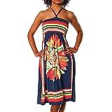 H112 Damen Sommer Aztec Bandeau Bunt Tuch Kleid Tuchkleid Strandkleid Neckholder, Farben:F-027 Dunkelblau;Größen:Einheitsgröße