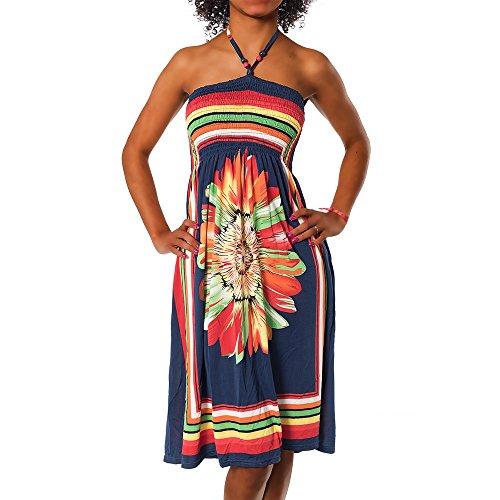 H112 Damen Sommer Aztec Bandeau Bunt Tuch Kleid Tuchkleid Strandkleid Neckholder, Farben:F-027 Dunkelblau;Größen:Einheitsgröße -
