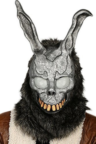 The Bunny Maske Grau Latex Obenliegend mit Fur Hase Helm Cosplay Kostüm Zubehör für Erwachsene Halloween Kleidung Replik (Grau Bunny Kostüme)