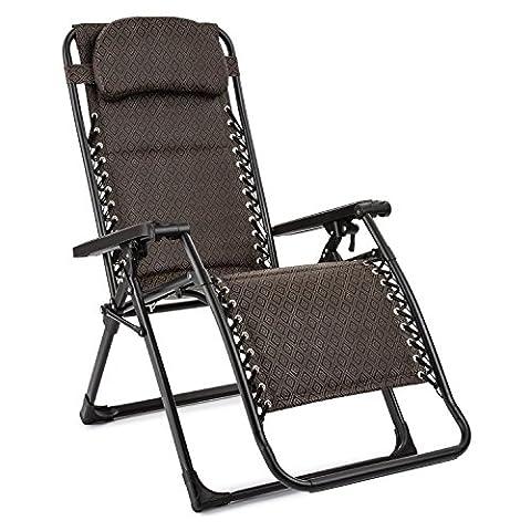 Blumfeldt California Red • Liegestuhl • Sonnenliege • Relaxstuhl • klappbar • stufenlos verstellbar • federnde Aufhängung • Kopfkissen höhenverstellbar • Beinablage • Aluminiumrohr • witterungsbeständige Pulverbeschichtung • Stahlrohrrahmen • braun