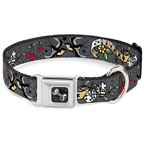 Schnalle Hund-kragen, Gürtel (buckle-down Lucky grau Halsband Bone, breit Medium/40,6–58,4cm)