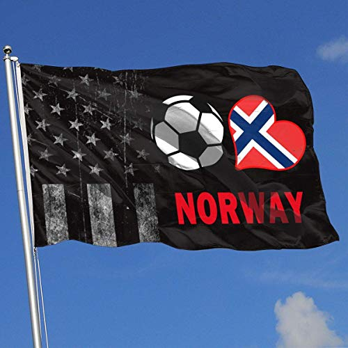 Gsixgoods Flagge Outdoor Flags Soccer Heart Football Norway Flag 3X5 Ft Flag for Outdoor Indoor Home Decor Sports Fan Football Basketball Baseball Hockey