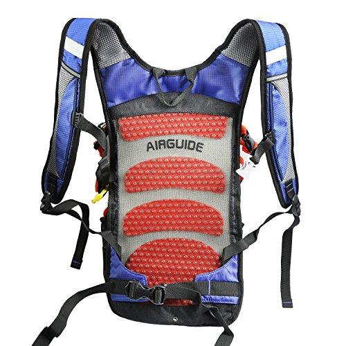West Biking Rucksack zum Radfahren, Joggen, Wandern, strapazierfähig und leicht, wasserbeständig mit vielen Taschen, Rückenmassagesystem und einzigartigem Helmnetz Blue