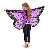 Schmetterling Kost�m, Dasongff Kind Kinder Jungen M�dchen B�hmischen Schmetterling Print Schal Pashmina Kost�m Zubeh�r Butterfly Wing Cape Kimono Fl�gel Schal Cape Tuch (118*48cm, Lila) Bild