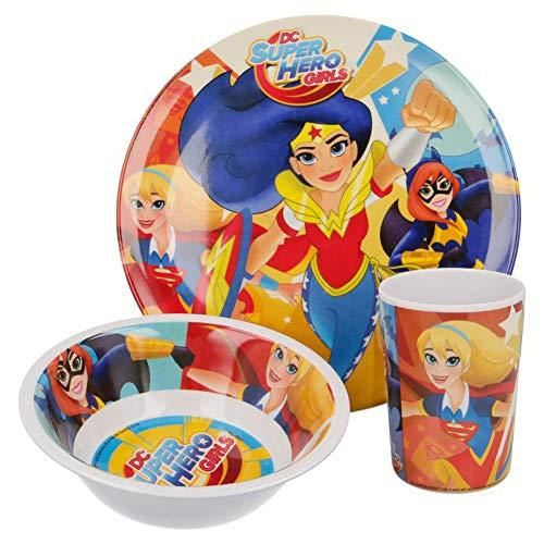 DC Universe Super Hero Girls Kinder-Geschirr Set mit Teller, Müslischale und Trinkbecher aus Melamin