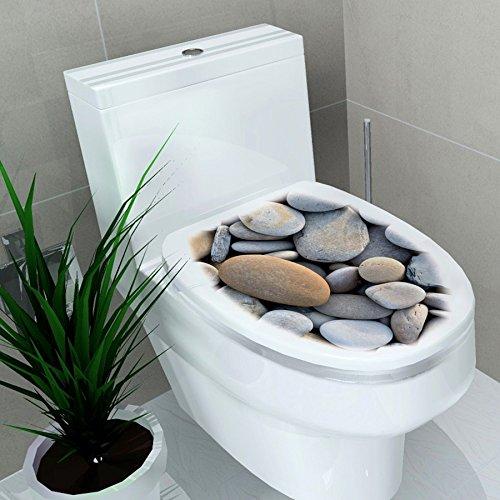 Ducomi® adesivi decorativi per copriwater per adulti e bambini, ideale per seduta wc di misura standard (pietre)