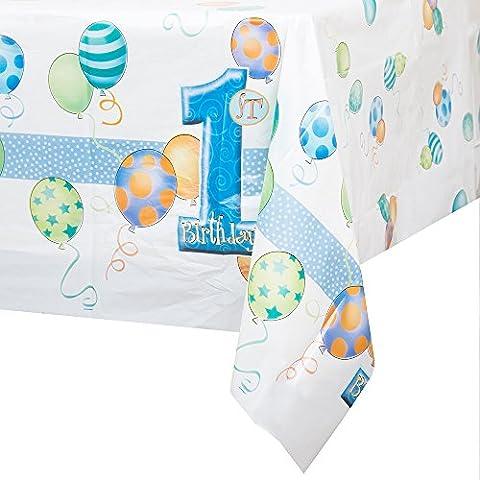 Unique Party - 23943 - Nappe en Plastique 1er Anniversaire Ballons - Bleu - 213 cm x 137 cm