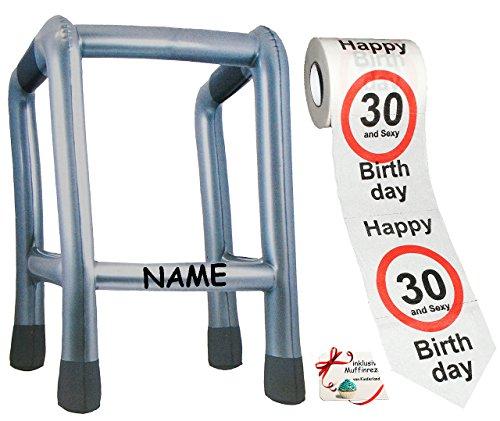 Unbekannt 2 TLG. Set: __ Gehhilfe - ( Aufblasbar ) incl. Name + Toilettenpapier Rolle -  30. Geburtstag / dreißig und Sexy - Happy Birthday  - lustiger Partyartikel -..