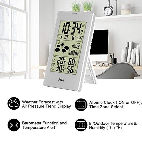 * FanJu FJ3352 Stazione Meteorologica con Sensore Esterno / Temperatura Interna ed Esterna e Umidità / Fase Lunare / Sveglia con Termometro. recensioni dei consumatori