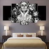 LA VIE 5 Teilig Wandbild Ölbild Künstlerische Schwarz-Weiß-Frauengesichter Leinwanddrucke Bilder