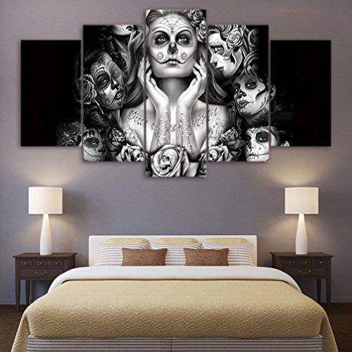 Weiß 5 Teilig (LA VIE 5 Teilig Wandbild Ölbild Künstlerische Schwarz-Weiß-Frauengesichter Leinwanddrucke Bilder Moderne Kunstdruck für Zuhause Wohnzimmer Schlafzimmer Küche Hotel Büro Geschenk 30x50/30x70/30x90 CM)
