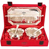 Deva Metals Handmade High Quality Handi Set Silver Plated Set Of ||2 Designer Bowl||2 Spoon|| 1 Tray|| Comes With Gift Pack Use For Dry Fruits, Gifting Purposes On Wedding Aniversary Diwali Navratri Occasion