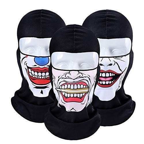 TAGVO 3D Balaclava Gesichtsmaske Atmungsaktiv Weiches Mehrzweck Motorrad Radfahren Sturmhaube UV-Schutz Kapuze Gesichtsschutz für Outdoor-Sportarten Halloween Party - Elastische (Die Meisten Realistische Maske)