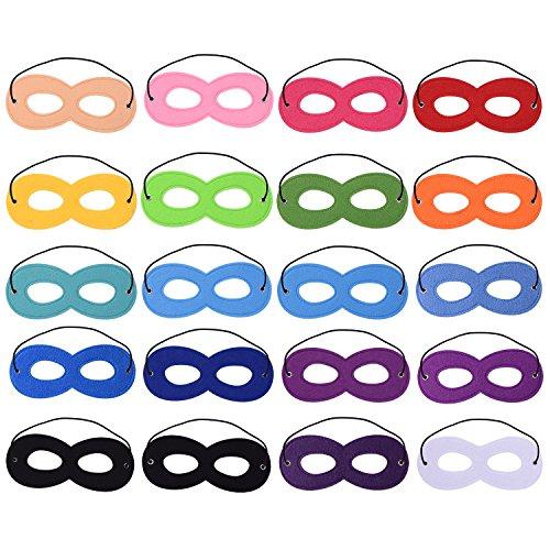 Blulu 20 Piezas Máscaras de Superhéroe Máscara de Ojos Máscaras de Cosplay de Fieltro Máscaras Medias Máscaras de Fiesta Máscaras con Cuerda Elástica para Fiesta, Multicolor