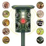 Cat Fox Repellent, Solar Powered &USB Charging Ultrasonic Outdoor Cat Scarer, PIR Activated