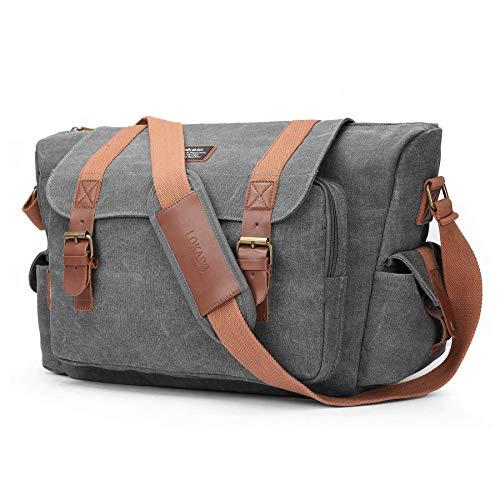 """Srotek Kameratasche DSLR SLR-Kamera Schultertasche große Kuriertasche Messenger Bag Umhängetasche, """"2 in 1""""-Design: trennbares Kamerafach & Laptopfach für 15,6 Zoll Laptop (Canvas, grau)"""
