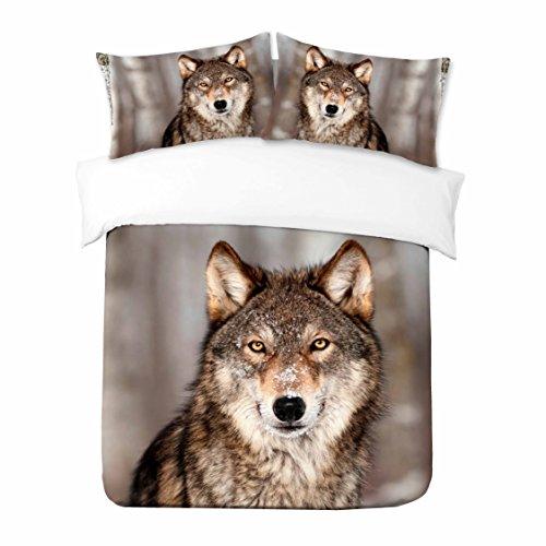 Adam Home 3D Digital Printing Bett Leinen Bettwäsche-Set Bettbezug + 2x Kissenbezug - Lone Wolf (Alle Größen)
