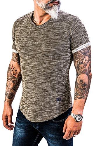 Rock Creek Herren Designer T-Shirt Rundhals Ausschnitt Kurzarm Oversize Shirt Sommershirt Slim Fit Sweatshirt H-151 L Olive - Neue Herren-rock