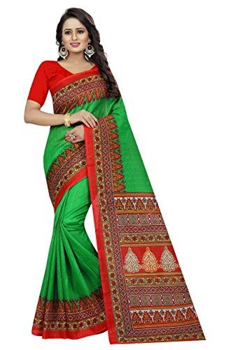 Shreeji Ethnic Women'S Bhagalpuri Silk saree With Blouse Piece(devdas green)