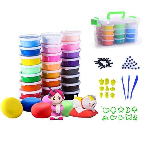 Kinderknete 24 -er Pack Knet-Set Modelliermasse und 43 Knetwerkzeug Teig Plastilin Werkzeuge, Aufbewahrungskiste für Kinder Kreatives Spielen und als Geschenk (Gelb-eis-wanne)