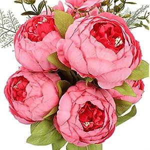Ksnrang – Flores artificiales de seda, peonías artificiales antiguas, ramo de boda, recepción, decoración