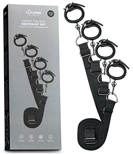Die Kontrolle (EasyToys Fetish Collection - Under the bed Restraint System - Übernimm die Kontrolle über deinen Partner im Schlafzimmer - Leder Fesseln für Ihn und Sie)