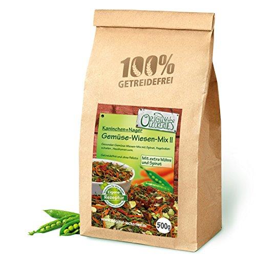 Original-Leckerlies Gemüse-Wiesen-Mix II 500g, Premium Qualität*** – getreidefrei – Kaninchenfutter, Nagerfutter, Meerschweinchenfutter, 100% Naturprodukt für Nager mit Gemüse und Kräutern
