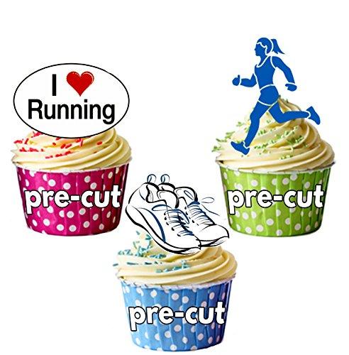 12 décorations comestibles en gaufrette pour cupcakes Motif I Love Running de glissières femelle -