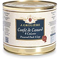 Conserve Artisanale Foie Gras Grolière : 6 Cuisses de Confit de Canard recette du Périgord - origine Sud-Ouest sans colorants ni conservateurs