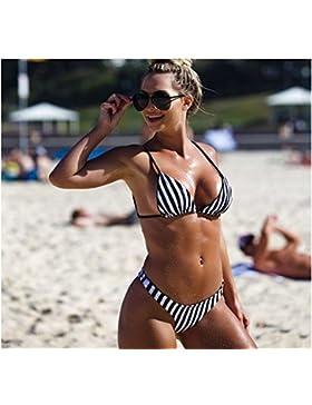 Conjuntos de Bikini Sexy traje de baño Trajes de Baño Moda adelgazantes franjas negras y blancas dividir chica...