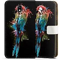 Samsung Galaxy J7 2017 Tasche Leder Flip Case Hülle Papagei Vogel Bird