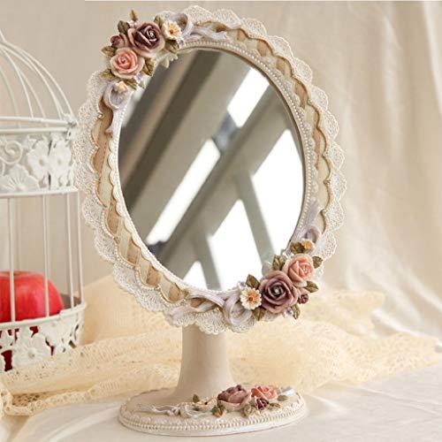 NBE Miroir Miroir- Desktop HD Portable Simple Face cosmétique Maquillage Miroir beauté résine 18cm réglable 27cm*Rose Ovale Salle de Bains Sweet Miroir sur Pied Bienvenue (Couleur : A)