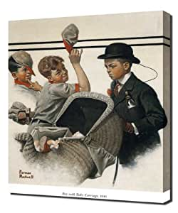 Norman Rockwell - Boy With Baby Carriage 1916 - Reproduction d'art - Taille Du Cadre 60cm x 90cm - Image Sur Toile