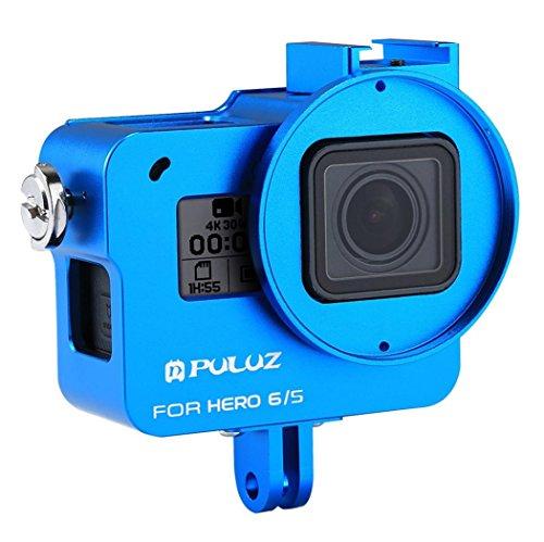 Wokee Ersatz Wasserdicht Schutz PULUZ Für GoPro Hero 6/5 CNC Aluminiumlegierung Gehäuse Shell Fall Schutzkäfig Hülle Gehäuse Touch Gehäuse Schutz für Ihre (Blau) (Drohne Hubschrauber Für Go Pro)