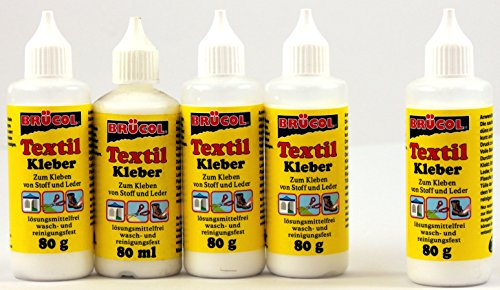 Textilkleber je 80ml Brücol Bastelkleber Stoffkleber Textilklebstoff Klebstoff 540 (2 x 80ml = 160ml)
