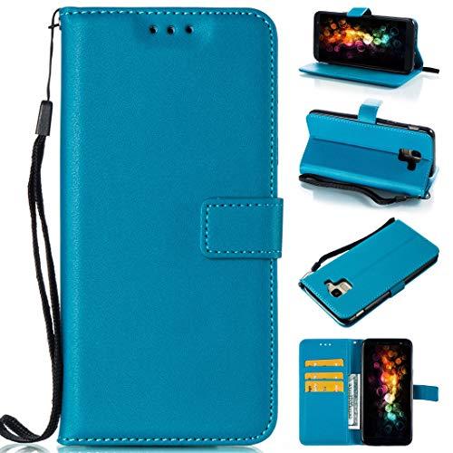 Schutzhülle aus Leder für Samsung Galaxy A6 2018, Mode Farbe Pure Bookstyle Folio-Schutzhülle mit Magnetverschluss und Kartenschlitz und Handschlaufe, ultradünn, PU-Leder himmelblau