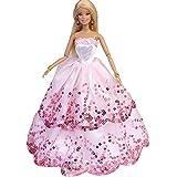 Ropa de vestir boda del partido de manera hecha a mano con lentejuelas para las muñecas Barbie 27 ~ 30 cm por WayIn® (Rosado)