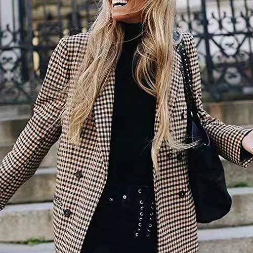 XINAINI Damen Klassischer Blazer - Gitter Anzugjacke Check Long Wool Coat - Casual Schlank Strickjacke Weiblicher - Klassischen Trenchcoat Mantel Jacke WinterMantel Weihnachten 4