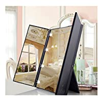 Sotoboo Foldable Vanity Makeup Mirror with LED Lights, Tri-Fold Illuminated Light LED Travel Mirror, 8Pcs Led Cosmetic Lighted Table Mirrors for Beauty Dressing Home Women Girls Beauty - 45° Tilt