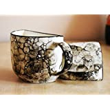 OJOS™ Handcrafted Unique Half Ceramic Cups [SET OF 6] - Tea/Coffee Mugs Half Ceramic Cups Set In Multicolor - Tea Cups Mugs Coffee Mugs / Half Theme Tea Cups Set Of 6