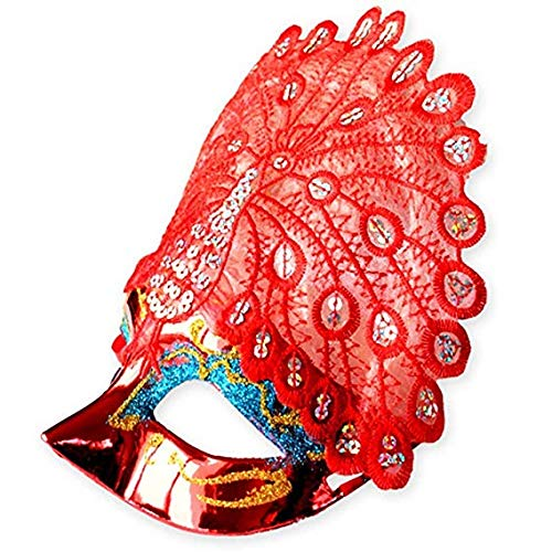 Gesichtsmaske Schild Schleier Wache Bildschirm Domino falsche Front Halloween Maske Venedig Prinzessin Make-up Tanzparty halbes Gesicht Pfauenmaske rot,Red