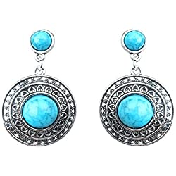 Waama Jewels German silver plated Dangle and drop earring for girls & Women Festive and Daily Wear Earring Gemstone Color (Sky_Blue)