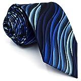 Shlax&Wing Clásico Hombre Traje De Negocios Seda Corbatas Para Azul Geométrico Extra largo