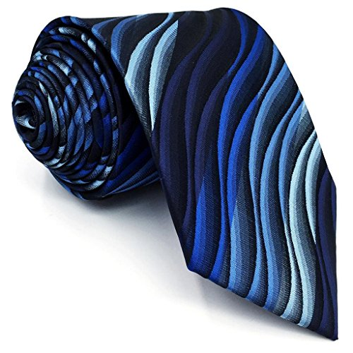 Shlax&Wing Klassisch Herren Geschäftsanzug Seide Krawatte Blau Geometrisch Extra lang 63