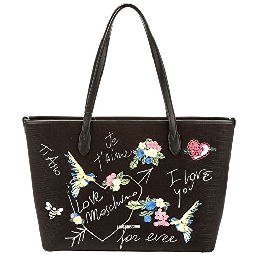 LOVE MOSCHINO Borsa shopping a spalla in canvas NERO